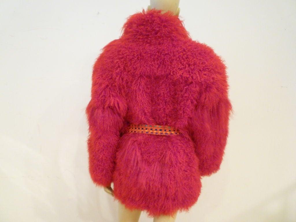 I. Magnin 80s Vibrant Red Mongolian Lamb Chubby Jacket 4