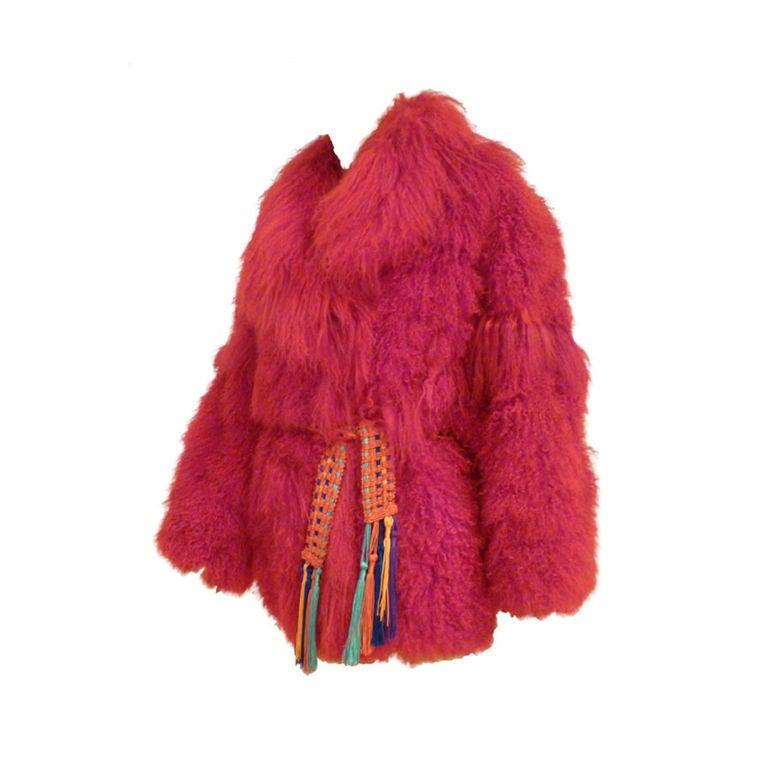 I. Magnin 80s Vibrant Red Mongolian Lamb Chubby Jacket 1