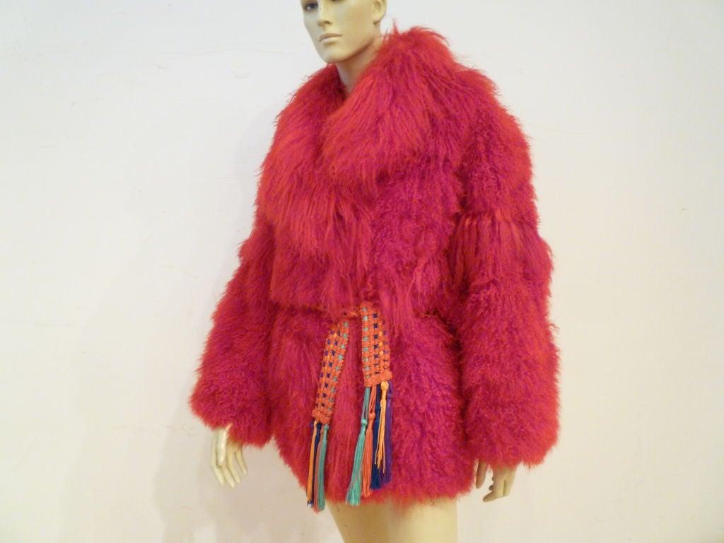 I. Magnin 80s Vibrant Red Mongolian Lamb Chubby Jacket 6