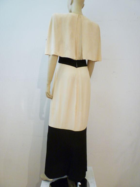 Beige Adrian 1940s Cubist Inspired Black/White Gown w/ Sequin Blocks For Sale