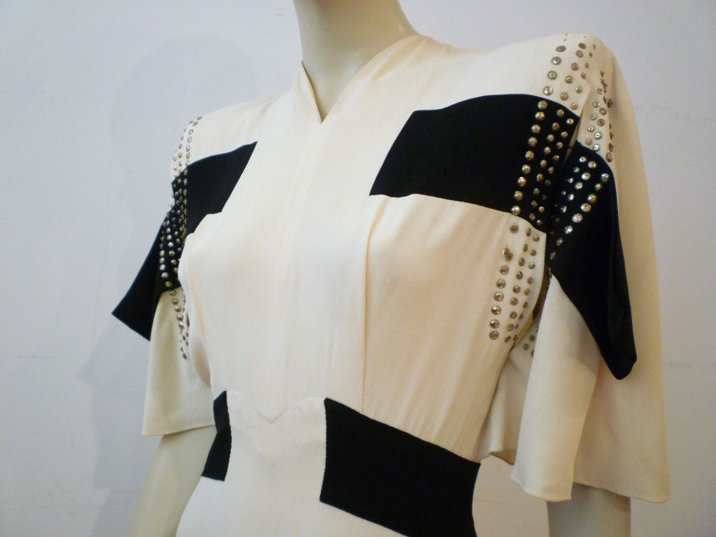 Women's Adrian 1940s Cubist Inspired Black/White Gown w/ Sequin Blocks For Sale