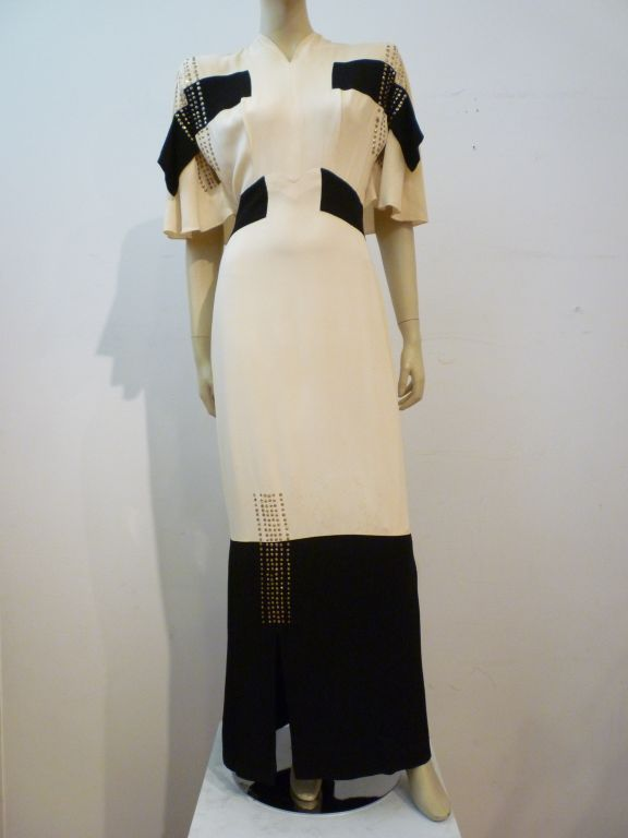 Adrian 1940s Cubist Inspired Black/White Gown w/ Sequin Blocks For Sale 2