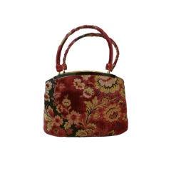 Fantastic Carpetbag Purse in Burgundy and Black Floral - Mint