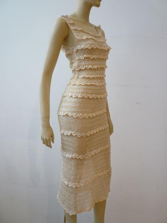 50s Cream Silk Ribbon Hand Crochet Dress 2