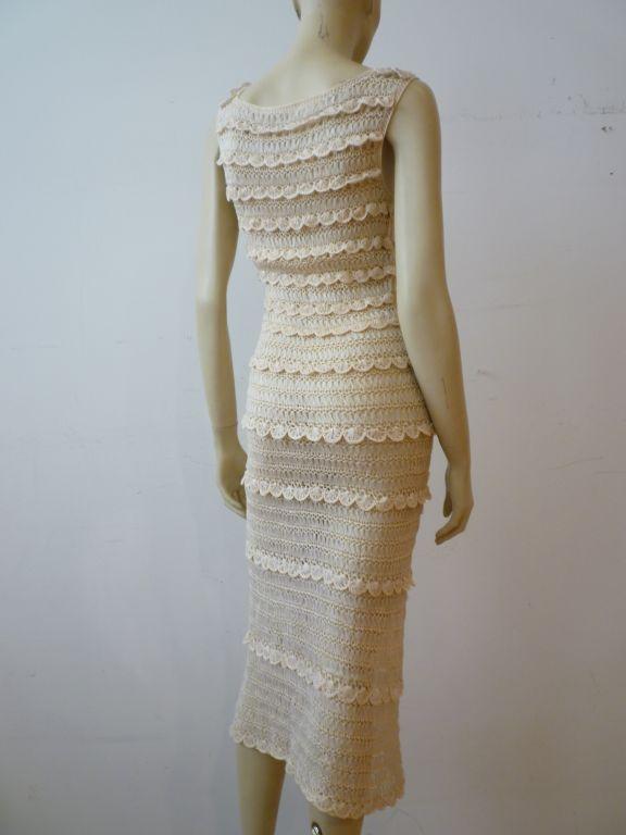 50s Cream Silk Ribbon Hand Crochet Dress 3