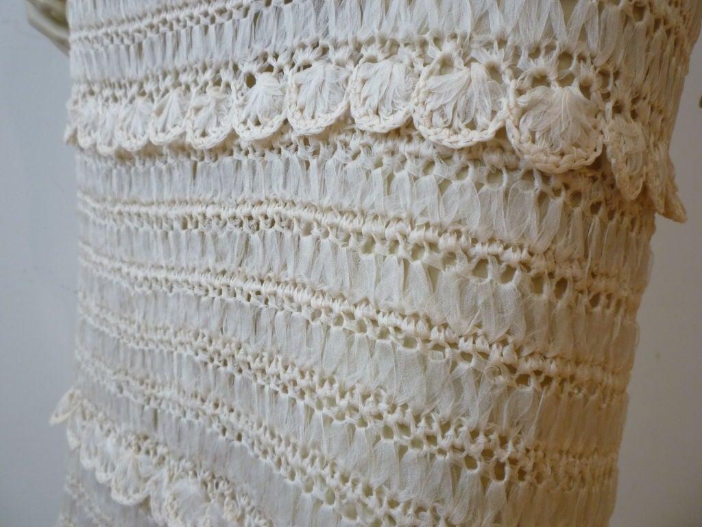 50s Cream Silk Ribbon Hand Crochet Dress 4