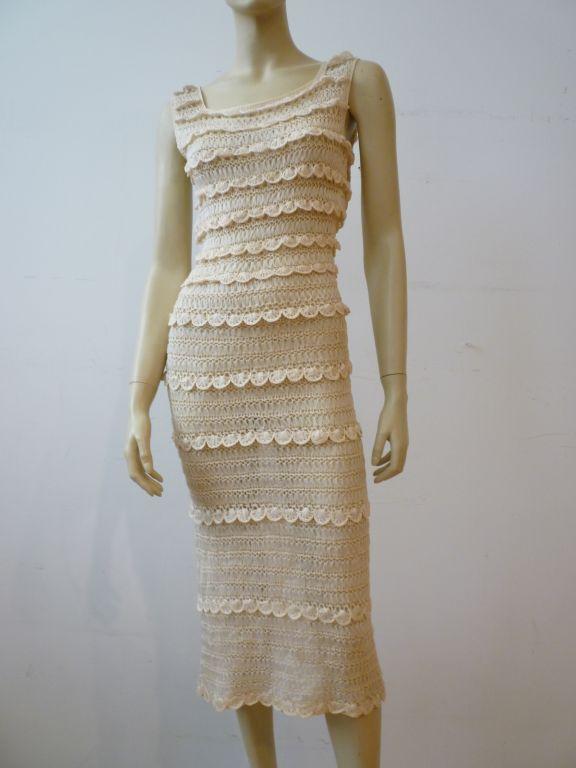50s Cream Silk Ribbon Hand Crochet Dress 5