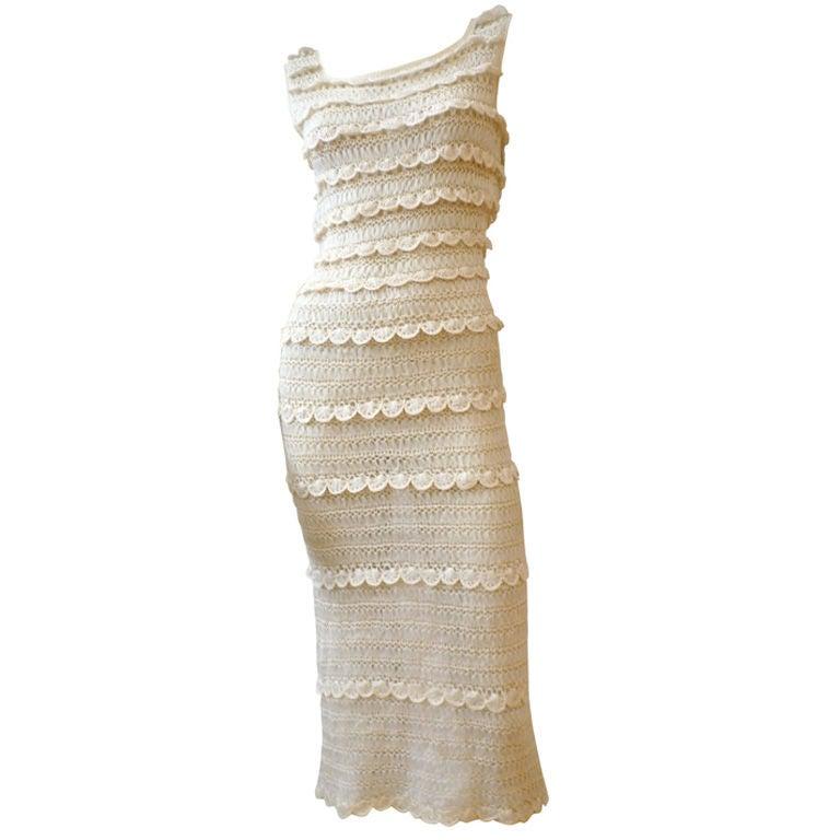 50s Cream Silk Ribbon Hand Crochet Dress 1