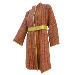 A Bonnie Cashin Tweed 60s Wool Coat w/ Leather Binding and Belt