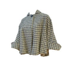 Lilli Ann 40s Sporty Tweed Wool Flared Cropped Swing Coat