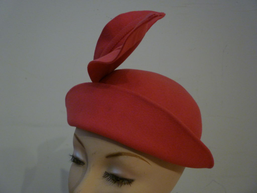 "Smart 40s Persimmon Wool Hat w/ ""Feathers"" image 4"