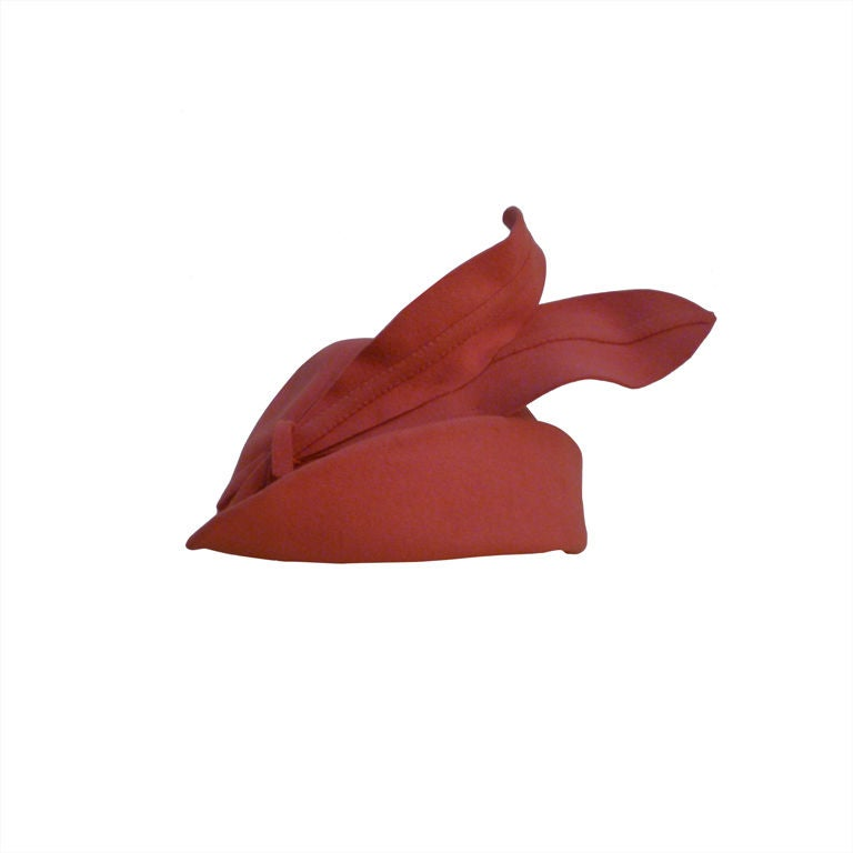 Smart 40s Persimmon Wool Hat w/