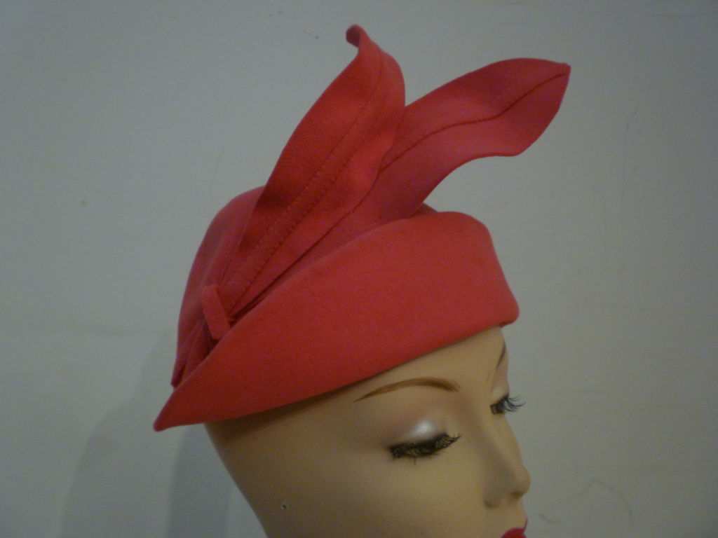 "Smart 40s Persimmon Wool Hat w/ ""Feathers"" image 5"