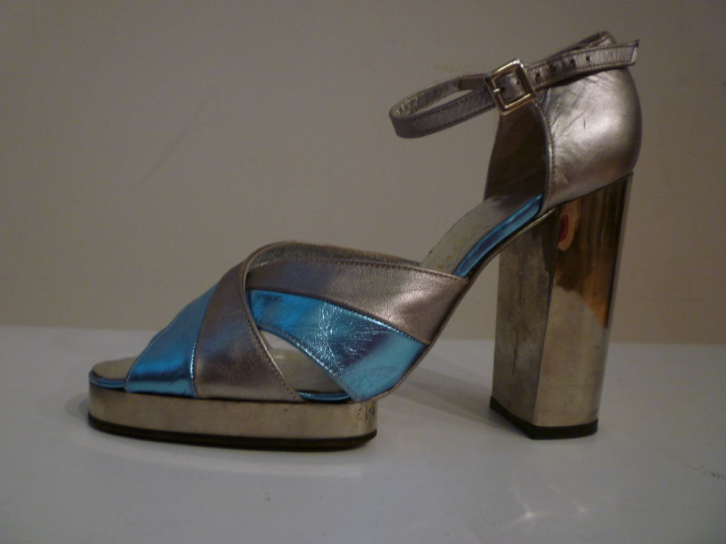 Fab Walter Steiger Disco Platform Sandal in Metallic Leather 2