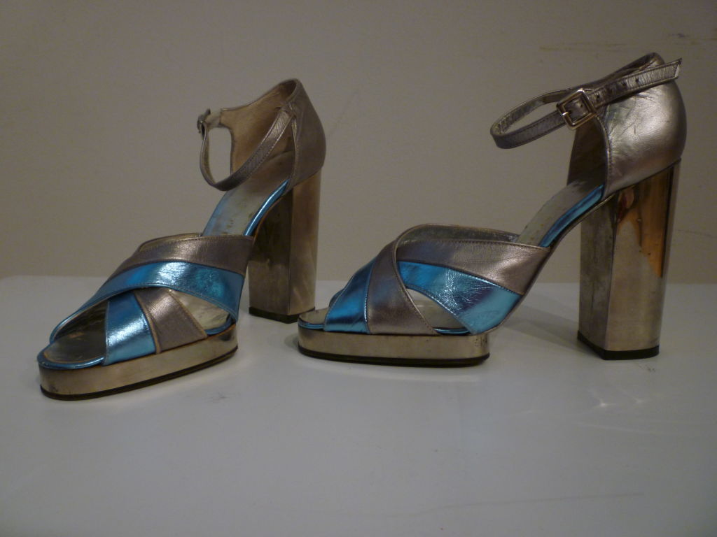 Black Fab Walter Steiger Disco Platform Sandal in Metallic Leather For Sale