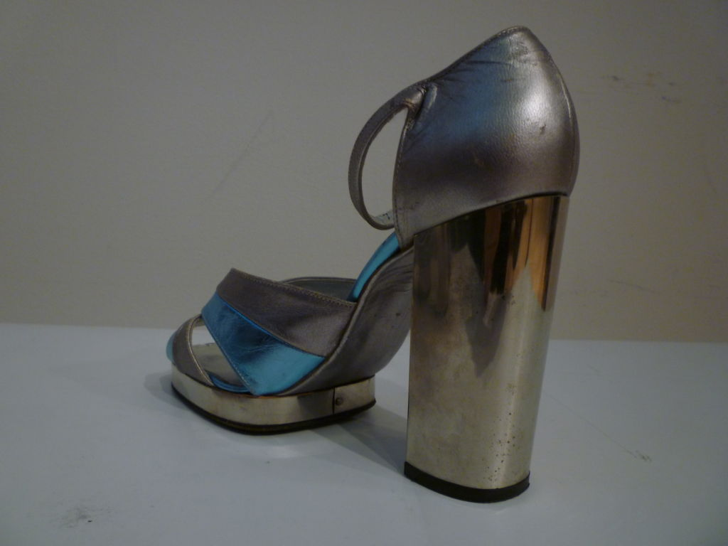 Fab Walter Steiger Disco Platform Sandal in Metallic Leather For Sale 1