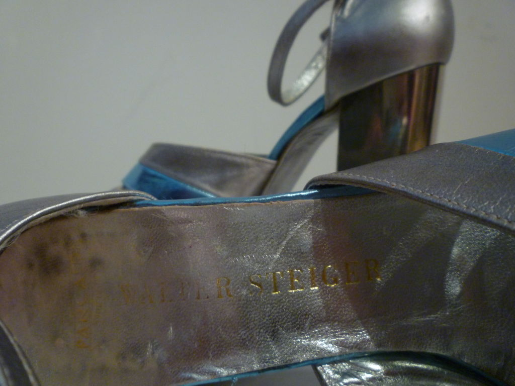 Fab Walter Steiger Disco Platform Sandal in Metallic Leather For Sale 2