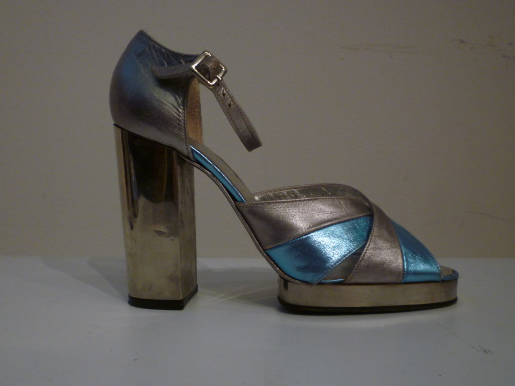 Fab Walter Steiger Disco Platform Sandal in Metallic Leather For Sale 3