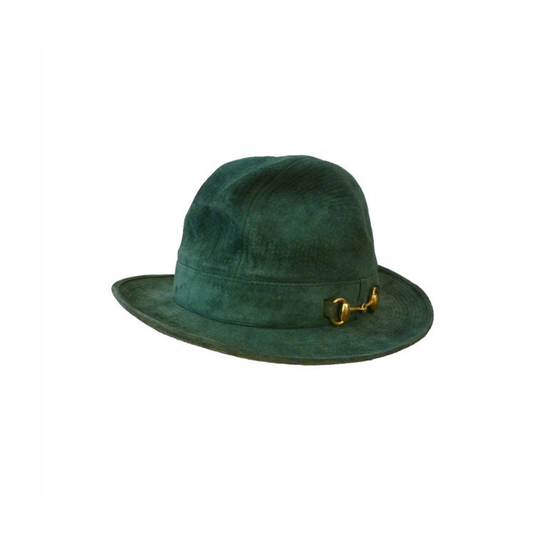70s Gucci Green Trapunto Stitched Suede Hat w/ Toggle For Sale