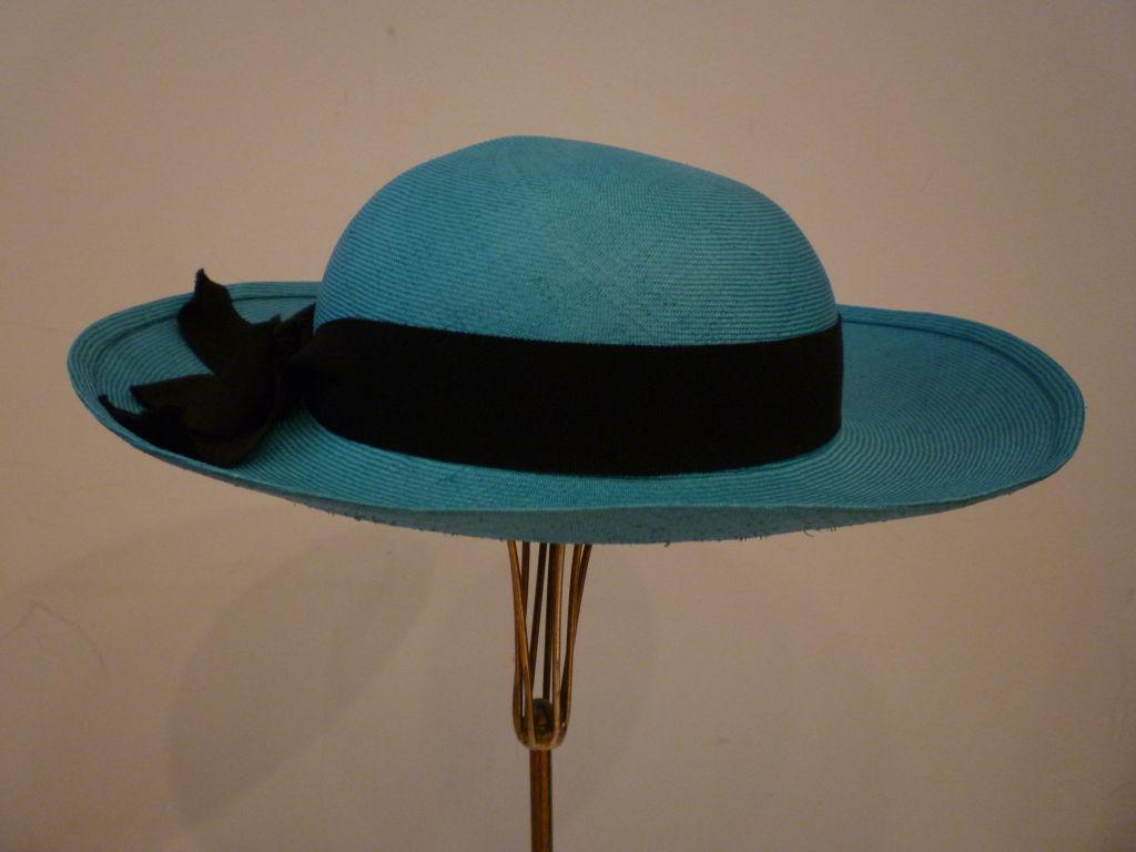 Chanel Genuine Straw Hat in Brilliant Turquoise 2