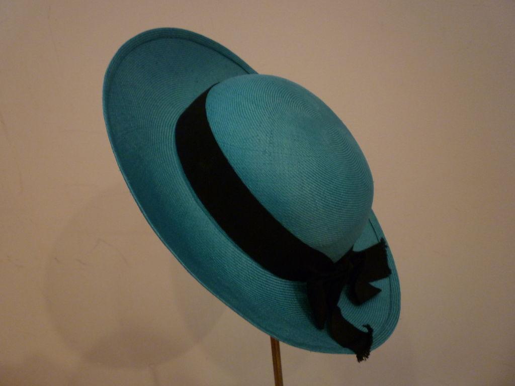Chanel Genuine Straw Hat in Brilliant Turquoise 3