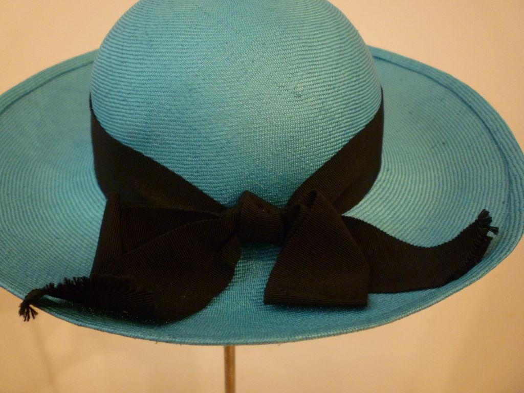 Chanel Genuine Straw Hat in Brilliant Turquoise 4