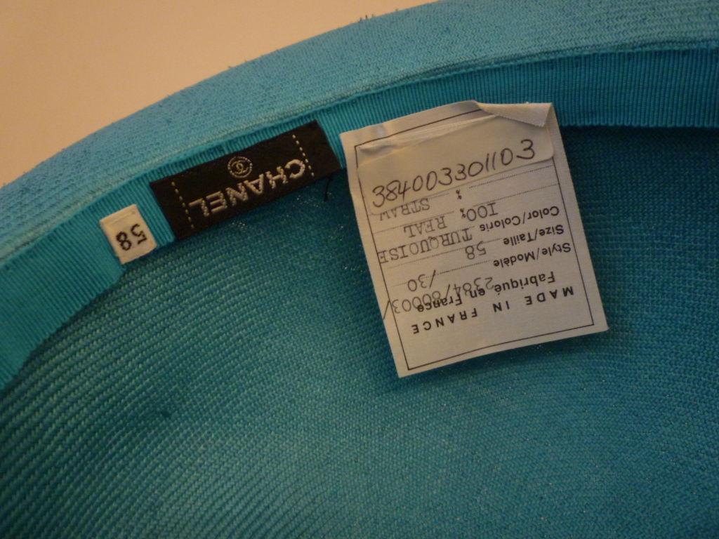 Chanel Genuine Straw Hat in Brilliant Turquoise 5