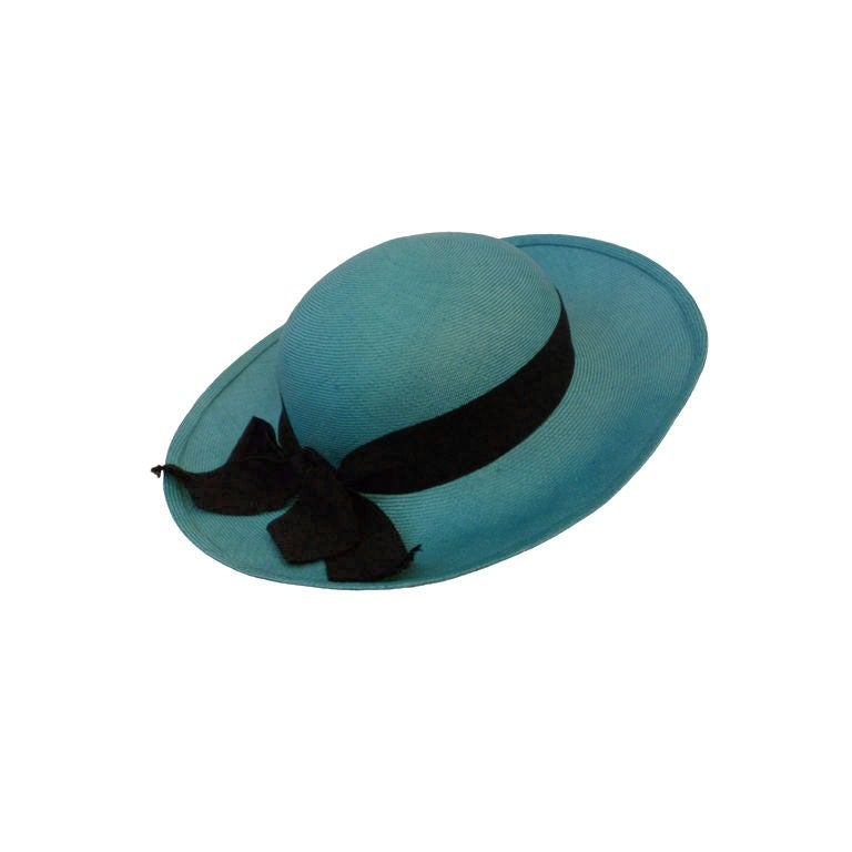 Chanel Genuine Straw Hat in Brilliant Turquoise 1