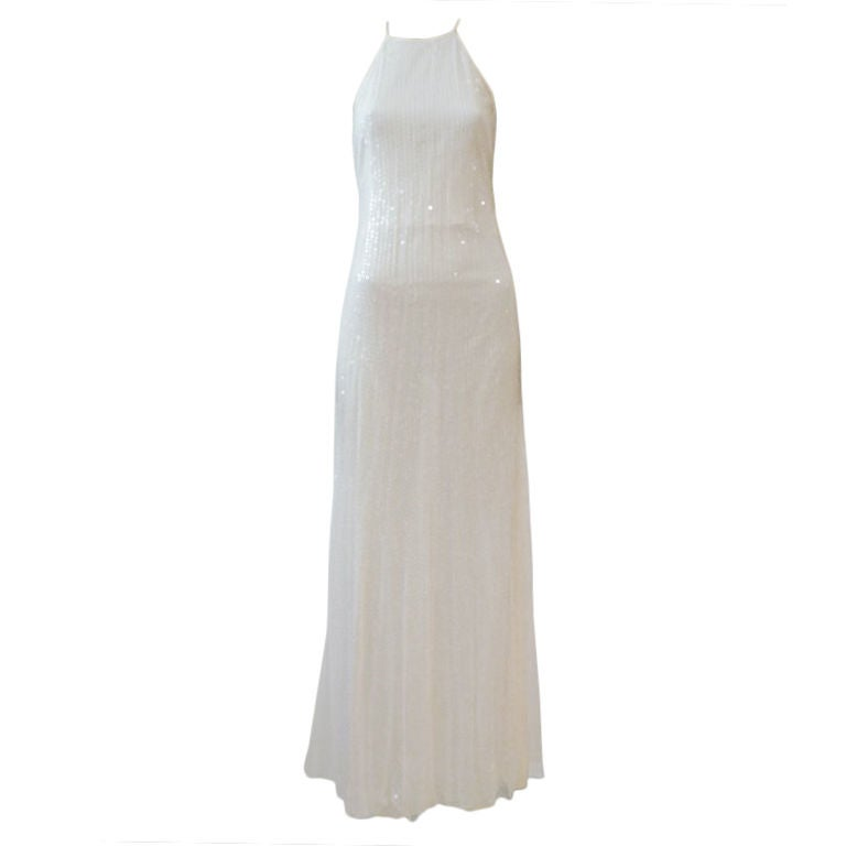 Chanel Diaphanous White Sequin Halter Gown w/ High Slit at 1stdibs