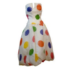 Scaasi 80s Organza Cocktail Dress w/ Whimsical Bubble Print