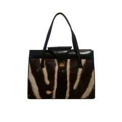 60s Zebra Hide and Leather Handbag
