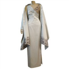Richard Tyler Couture 90s Silk Satin Gown w/ Beading & Stole