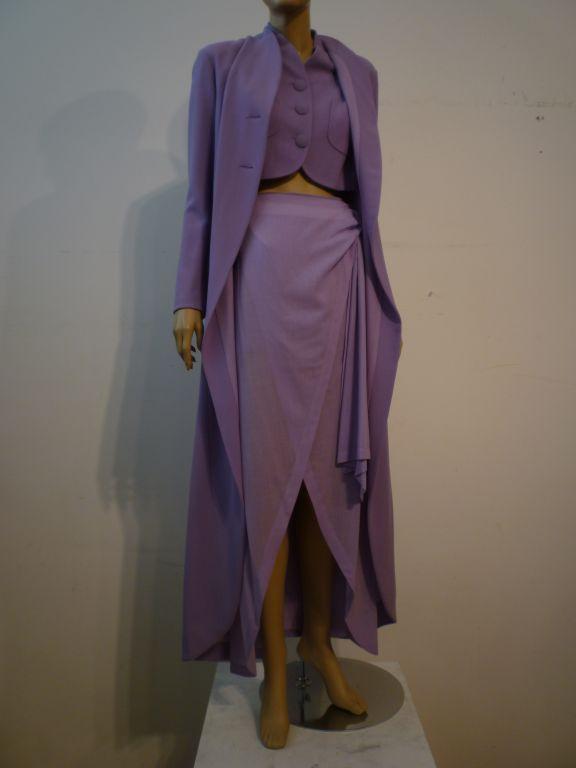 Balenciaga Le Dix 4-Piece Lilac Crepe Coat./Vest/Short/Skirt Ens image 3
