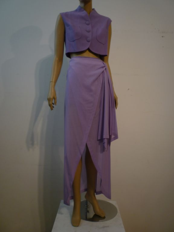 Balenciaga Le Dix 4-Piece Lilac Crepe Coat./Vest/Short/Skirt Ens image 4