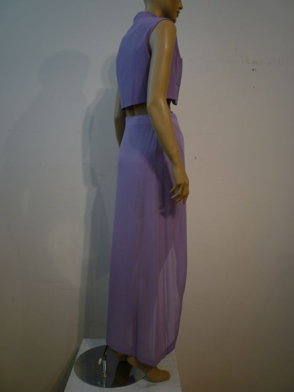 Balenciaga Le Dix 4-Piece Lilac Crepe Coat./Vest/Short/Skirt Ens image 5