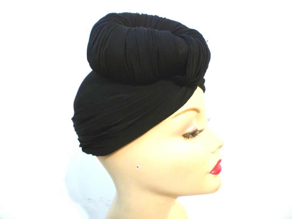 40s French Iconic Silk Jersey Turban w/ Top Knot at 1stdibs