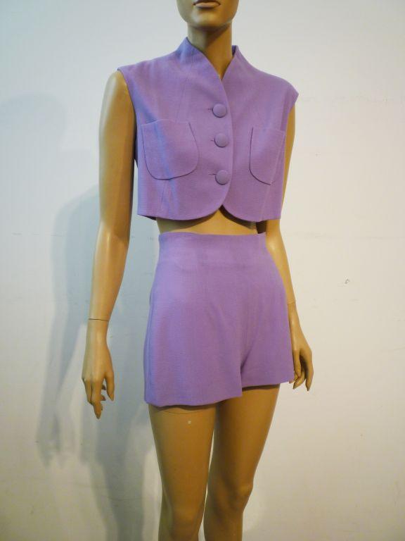Balenciaga Le Dix 4-Piece Lilac Crepe Coat./Vest/Short/Skirt Ens image 6
