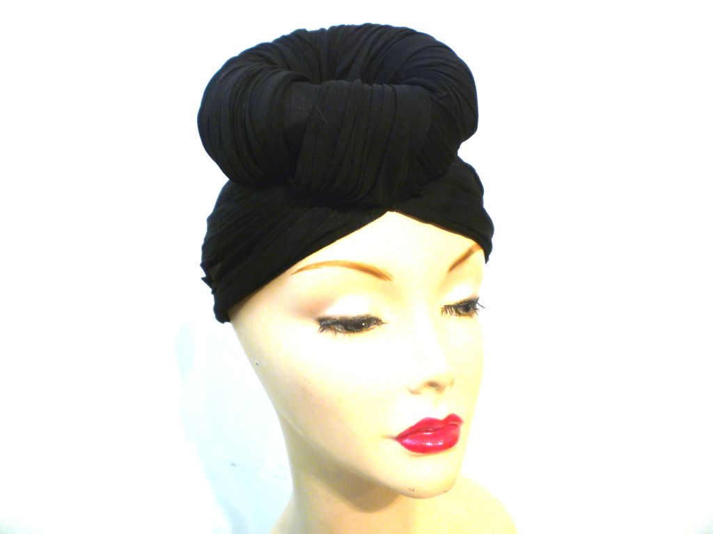 40s French Iconic Silk Jersey Turban w/ Top Knot 6