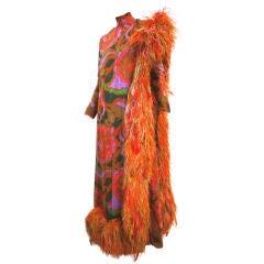 Wild George Halley 60s Silk Chiffon & Extravagant Ostrich Dress