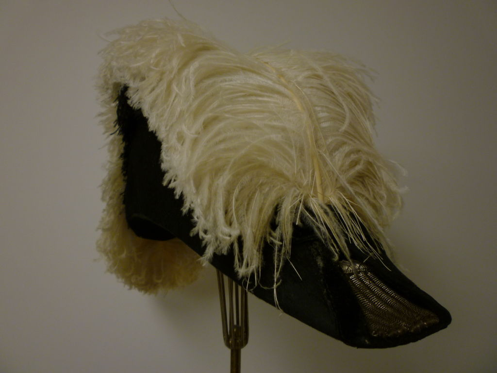 Antique Admiral  Hat with Elaborate Ostrich Feather 3