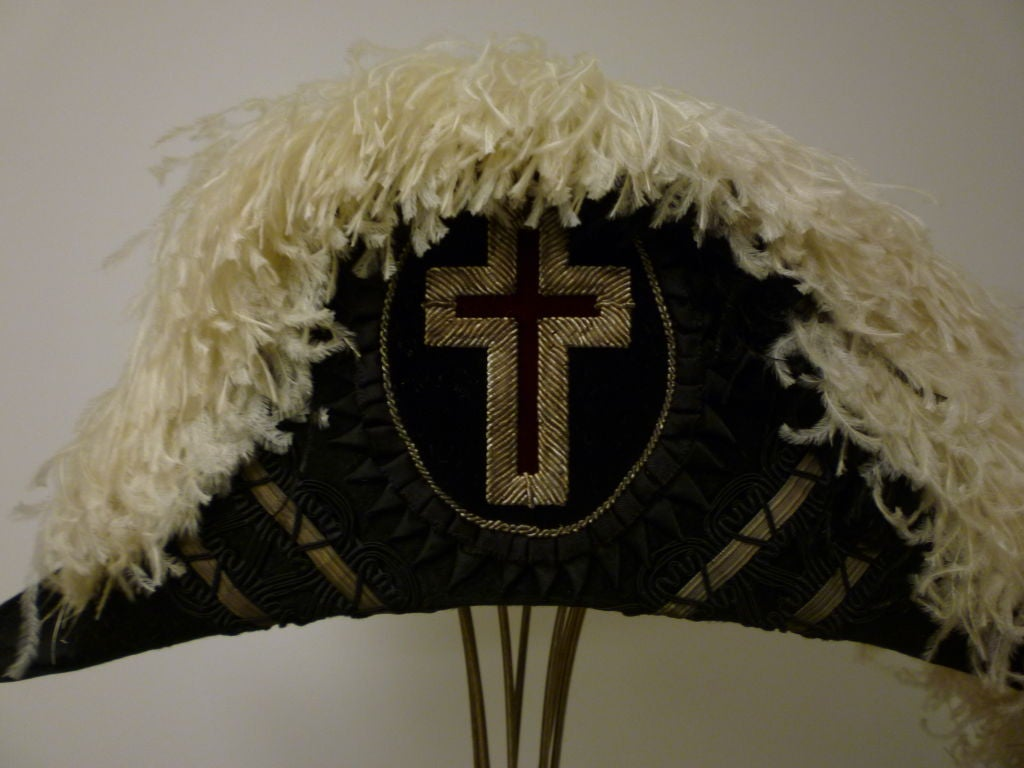 Antique Admiral  Hat with Elaborate Ostrich Feather 5