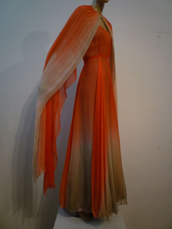 Alfred Bosand Ombré Silk Chiffon 2-Piece Gown 2