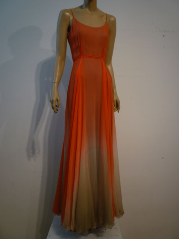 Alfred Bosand Ombré Silk Chiffon 2-Piece Gown 4