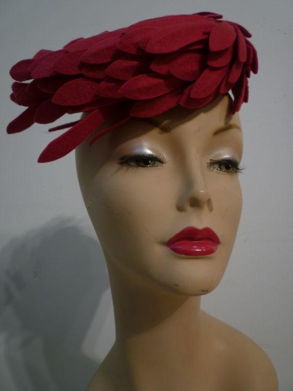 Fantastic 40s Fuchsia Felt Bird's Nest Hat 2