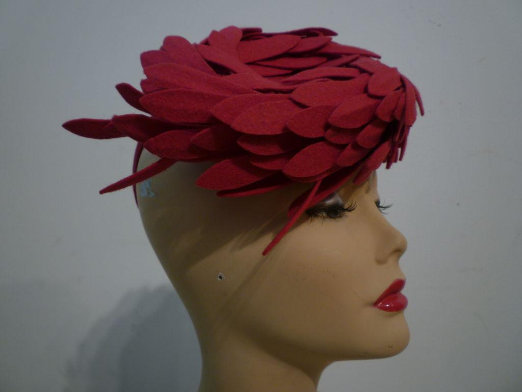 Fantastic 40s Fuchsia Felt Bird's Nest Hat 5