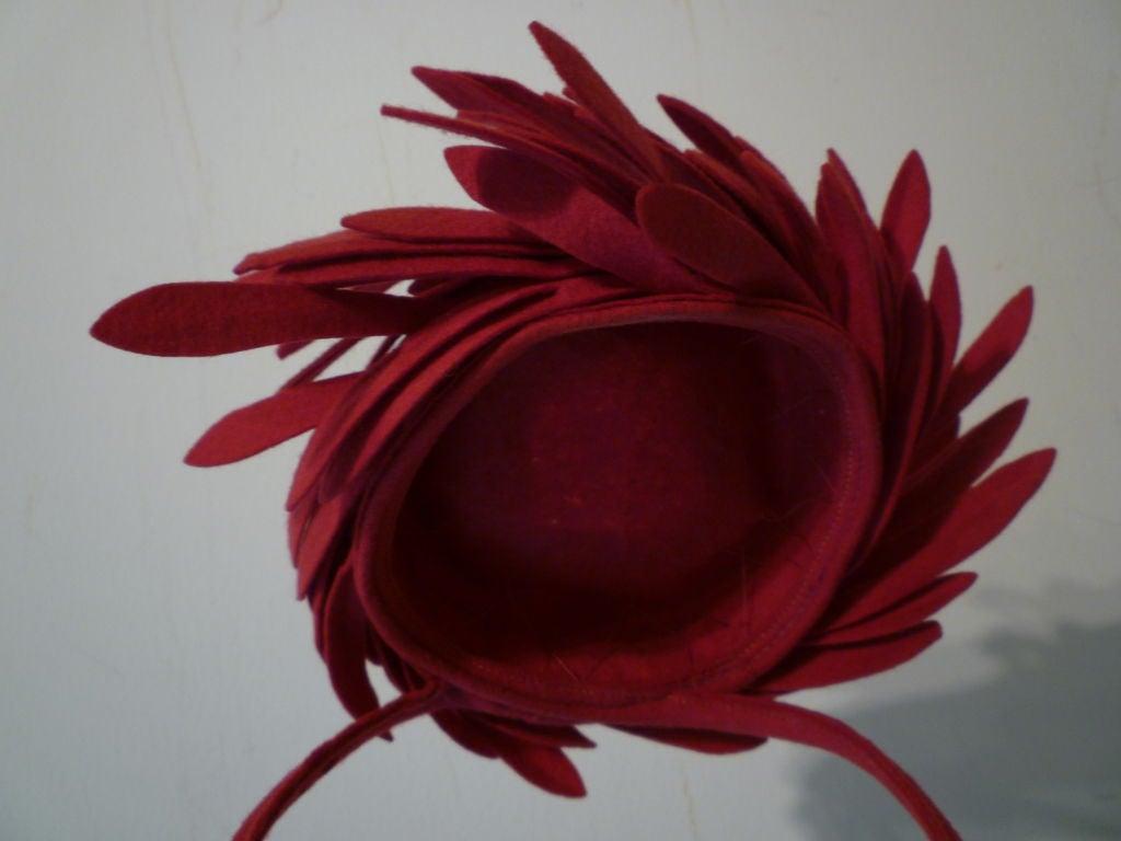 Fantastic 40s Fuchsia Felt Bird's Nest Hat 7