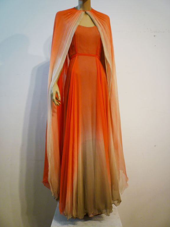 Alfred Bosand Ombré Silk Chiffon 2-Piece Gown 8