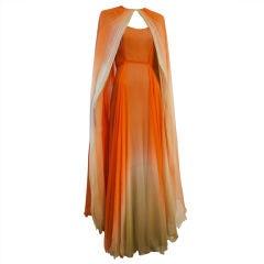 Alfred Bosand Ombré Silk Chiffon 2-Piece Gown