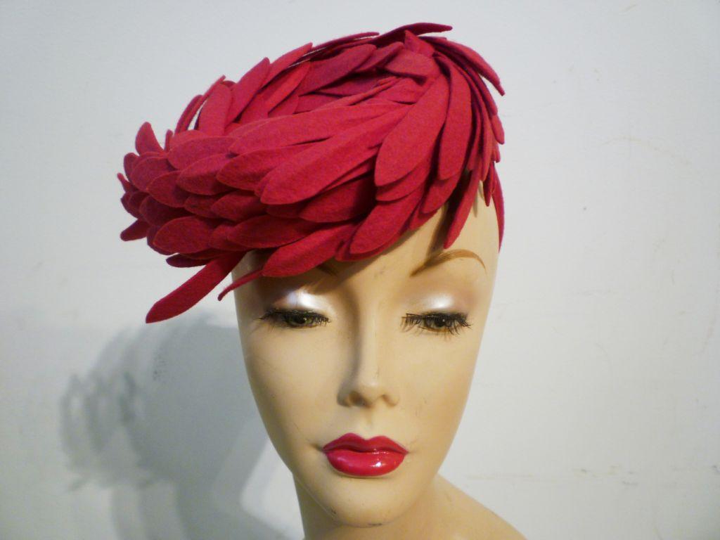 Fantastic 40s Fuchsia Felt Bird's Nest Hat 8