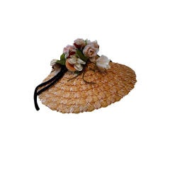 50s Floral Trimmed Straw Hat